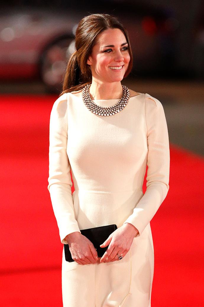 Kate turned heads when she walked the red carpet wearing a costume jewellery necklace by the brand.