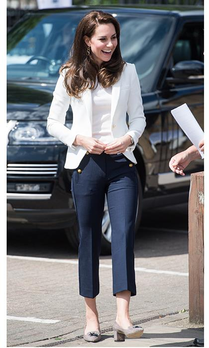 Kate Middleton is perhaps the biggest fan of all, elevating high street pieces to royal status on a regular basis. Her preferred Zara buy? A tailor blazer. Here's the Duchess of Cambridge wearing a tapered white style with antique gold buttons.