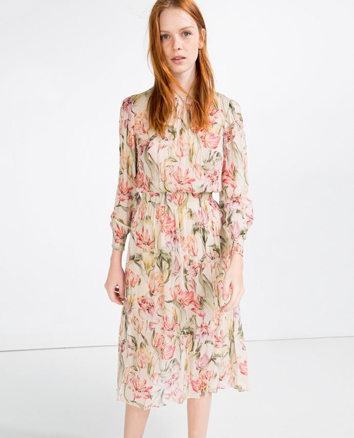 "No longer available. Shop similar, [$139](https://www.zara.com/au/en/plumetis-embroidered-dress-p07053031.html?v1=5658854&v2=1010034|target=""_blank""|rel=""nofollow"") at Zara."