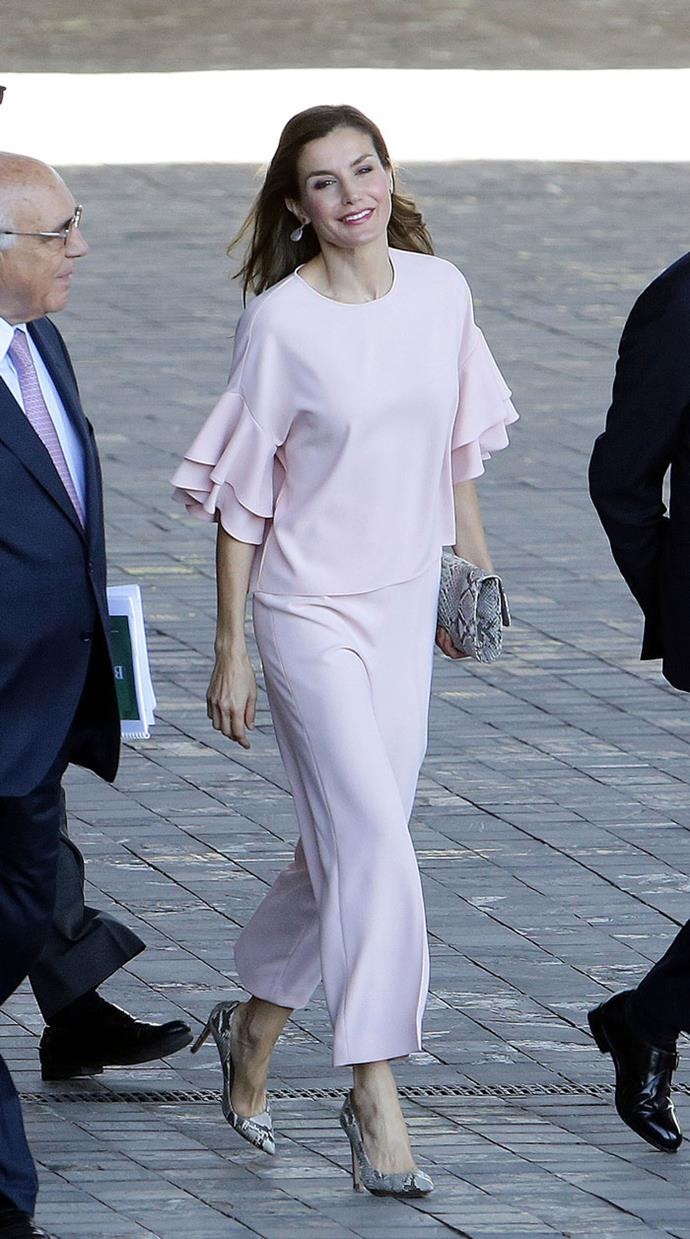Queen Letizia of Spain is another royal fan of Zara, which originates from her own country. Here she is wearing pastel pink coordinates while meeting with officials in Madrid.