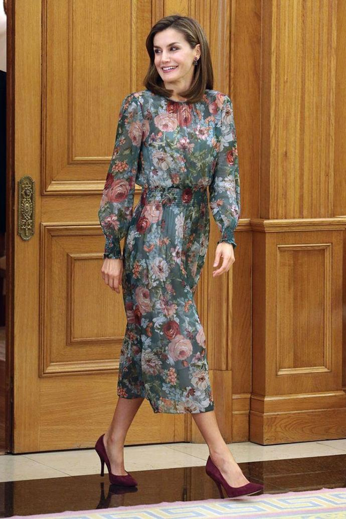 And again, this time in a darker, long-sleeved floral number.