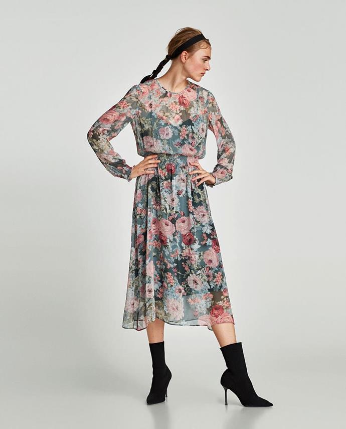 "No longer available. Shop similar [$79.95](https://www.zara.com/au/en/shiny-print-pleated-dress-p03184018.html?v1=5675536&v2=1010034|target=""_blank""|rel=""nofollow"") at Zara."