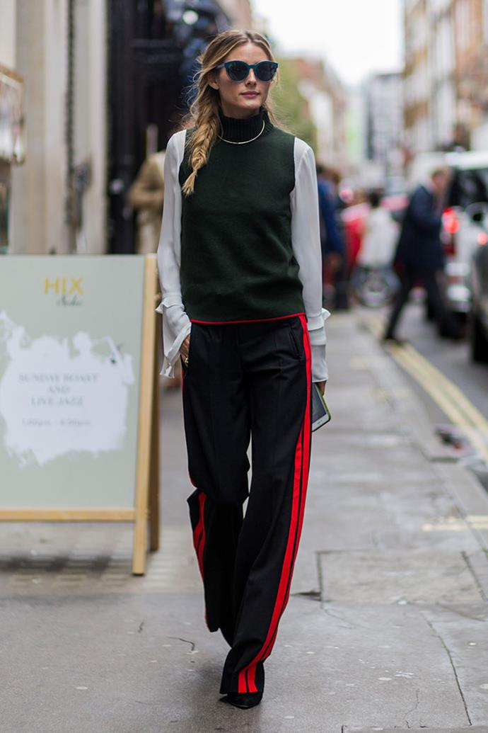 Olivia Palermo is a Zara addict who regularly wears their co-ordinates and statement pieces at fashion week. Here she is at London Fashion Week wearing an athleisure-inspired turtleneck and tracksuit pants.