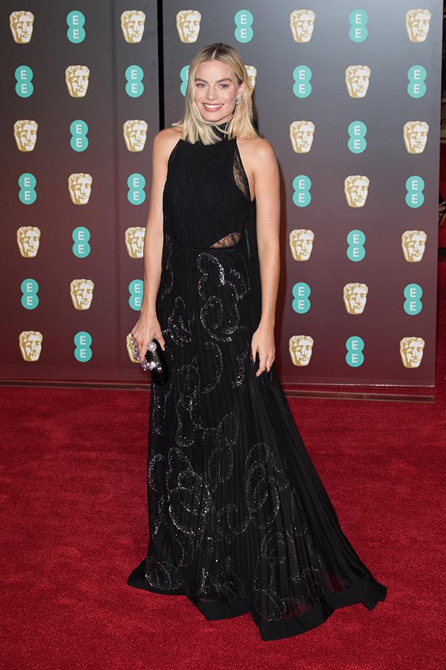 Margot Robbie wore a black Givenchy Couture gown to the 2018 BAFTAs.