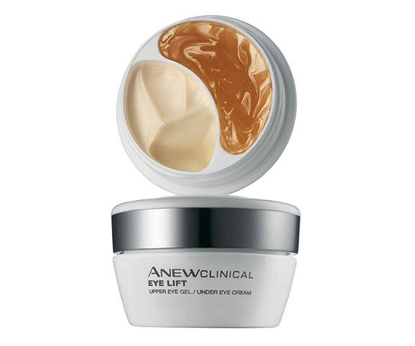 "Avon's two-in-one jar contains separate formulas for the upper and lower eye area. Use the Dimensional Lift Technology gel on the upper eye to promote elasticity, and the Derma-Refine Technology cream on the lower eye area to combat puffiness and under eye circles. <br><br> Avon Anew Clinical Eye Lift, $28, at [Avon](https://www.avon.com/product/anew-clinical-eye-lift-pro-dual-eye-system-42149|target=""_blank"")."