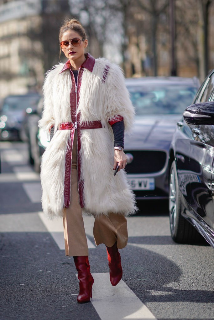 **Olivia Palermo** in belted faux fur.