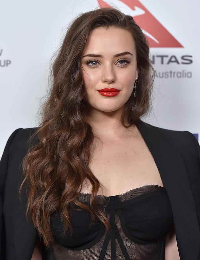 A bold red lip and curls at the Australians in Film Awards in October 2017.