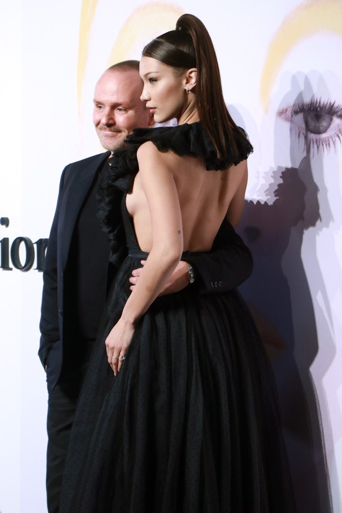 Bella Hadid flashes her side-boob at the 'Dior, The Art of Colour' exhibition in Shanghai, on March 23, 2018.