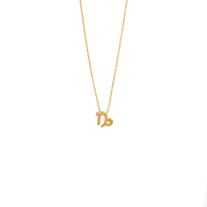 "Necklace, from $295 at [Sarah & Sebastian](https://www.sarahandsebastian.com/products/capricorn-necklace|target=""_blank""