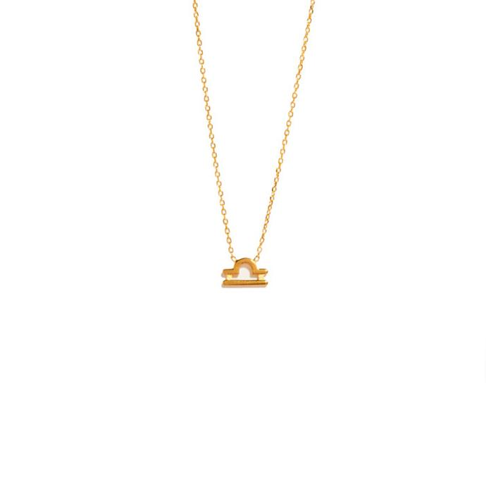 "Necklace, from $295 at [Sarah & Sebastian](https://www.sarahandsebastian.com/products/libra-necklace|target=""_blank""