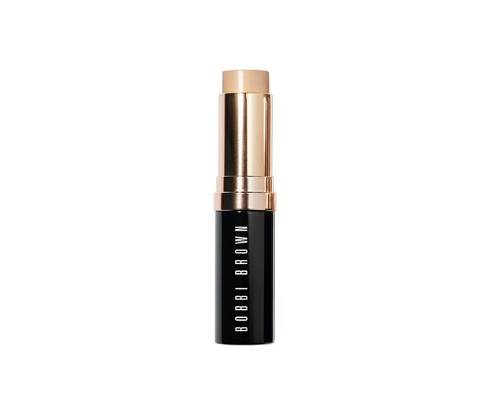 """<strong>The foundation stick </strong> <br> <br> <a href=""""null""""></a> Sticks work as all-over coverage as well as a targeted concealer. Just dot and blend with your fingers. Grab one for your handbag too, you'll thank us later. <br> <br> <a href=""""http://www.bobbibrown.com.au/product/14017/29723/Makeup/Face-and-Cheek/Foundation/Skin-Foundation-Stick/Free-Shipping-Returns"""">This one</a> is a classic, but <a href=""""http://shop.davidjones.com.au/djs/ProductDisplay?catalogId=10051&productId=2649013&langId=-1&storeId=10051&cm_mmc=googlesem-_-PLA-_-Health+and+Beauty+-+Personal+Care-_-Tom+Ford+Traceless+Foundation+Stick&CAWELAID=620017140001306733&CAGPSPN=pla&gclid=CjwKEAjw3uWuBRD_s-3a8-_h6j0SJAC-qgtHUe33JHgI4HZerLZLJl_tUT-G0Go2QOiiuwez1bWsYRoCQRnw_wcB&gclsrc=aw.ds"""">this </a>and <a href=""""https://www.priceline.com.au/maybelline-fit-me-shine-free-foundation-stick-9-g"""">this </a>are fabulous too."""