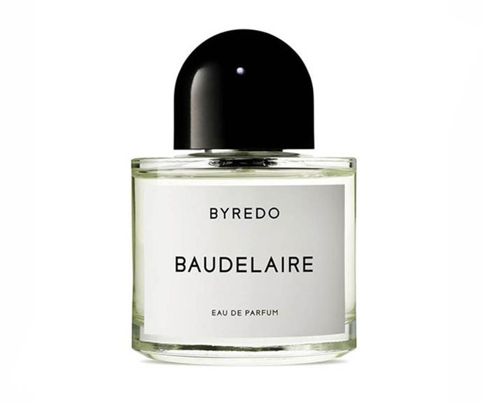 """I alternate between this and Tom Ford's Patchouli Absolu."" – Emma Kalfus, fashion editor <br><br> <a href=""http://mecca.com.au/byredo/baudelaire-edp/V-008258.html"">Baudelaire EDP, $192 for 50ml, Byredo</a>"