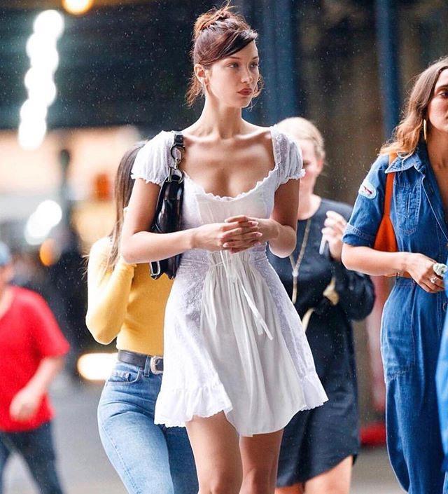 """**Daisy** <br><br> Their Signature Piece: [Hyperfeminine Frilly Dress](https://www.elle.com.au/fashion/daisy-australian-fashion-brand-to-know-14925 target=""""_blank"""") <br><br> Bella Hadid"""