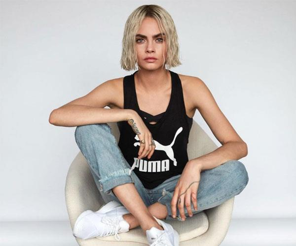 CARA DELEVINGNE MODELLING FOR PUMA WITH A CHIC BLONDE BOB!