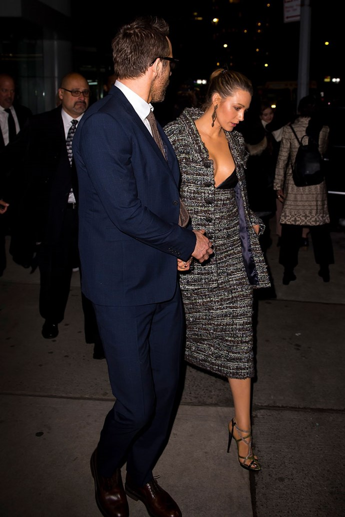 "Blake Lively just stepped out at the premiere for *A Quiet Place* wearing a Chanel Couture suit alongside Ryan Reynolds in a navy suit set days after [divorce rumours](https://www.cosmopolitan.com.au/celebrity/ryan-reynolds-blake-lively-split-rumours-26325|target=""_blank"") started spreading."