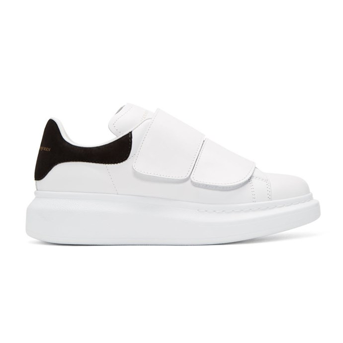 "Oversized white strap sneakers, $615, Alexander McQueen at [Ssense](https://www.ssense.com/en-au/women/product/alexander-mcqueen/white-straps-oversized-sneakers/2191627?gclid=EAIaIQobChMIkt-Q0bef2gIVCCUrCh0ThwntEAQYASABEgLxXvD_BwE|target=""_blank""|rel=""nofollow"")."