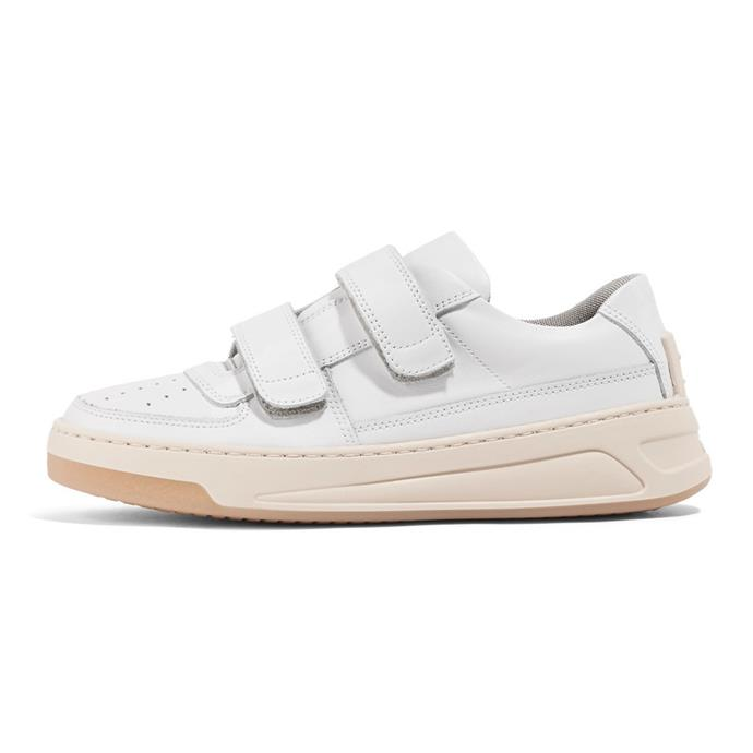 "Steffey leather sneakers, $540, Acne at [net-a-porter.com](https://www.net-a-porter.com/au/en/product/1003885/acne_studios/steffey-leather-sneakers|target=""_blank""