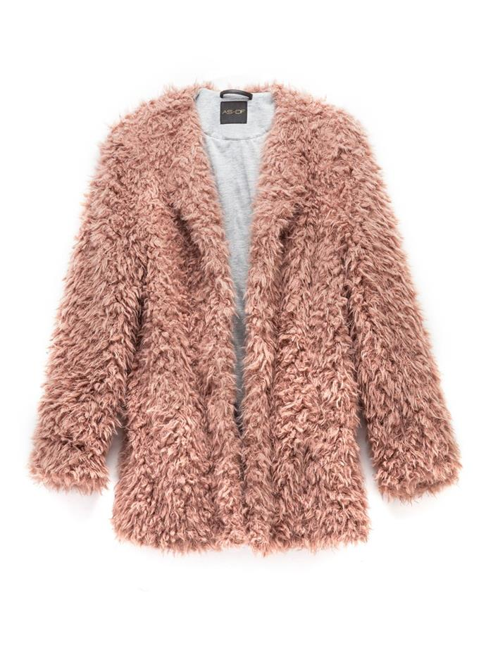 "Elisabetta Shag Fur Jacket, $275 from [AS by DF](https://www.asbydf.com/products/elisabetta-shag-fur-jacket-2|target=""_blank"")."