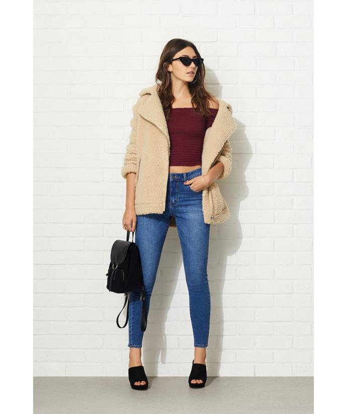 "Teddy Aviator Jacket, $149.95 from [Sportsgirl](https://www.sportsgirl.com.au/new-in/teddy-aviator-jacket-natural|target=""_blank"")."