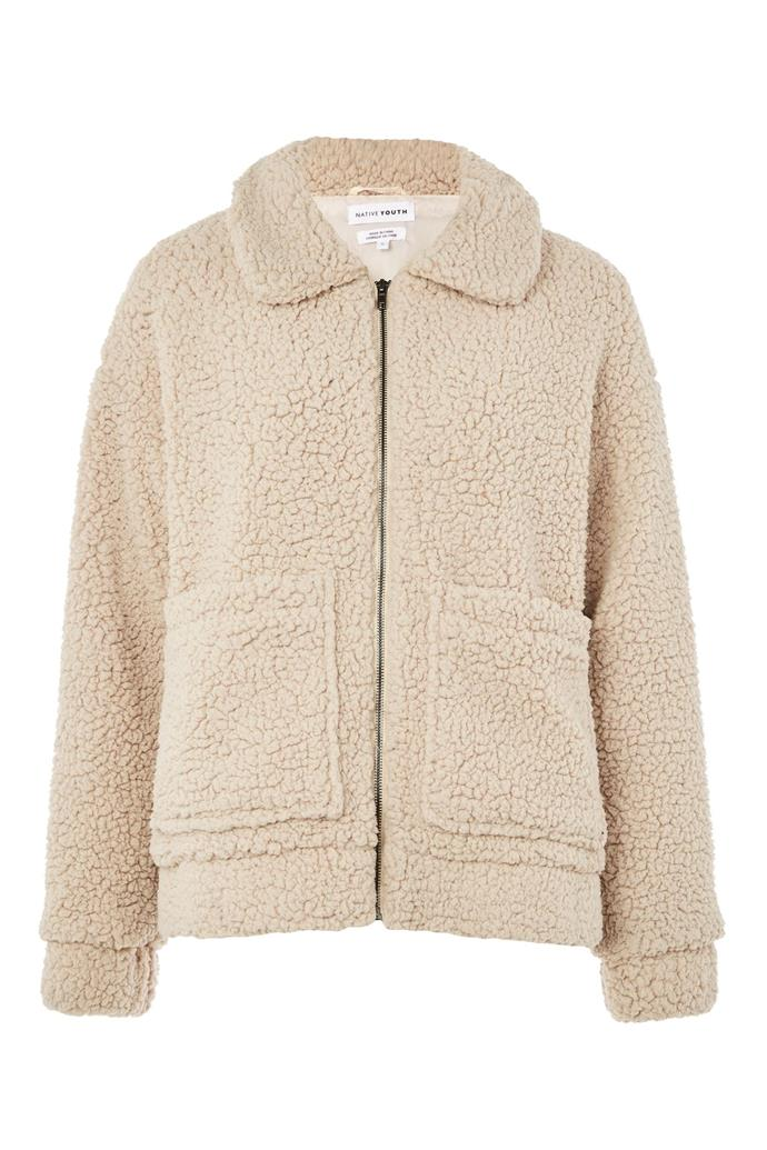 "Patch Pocket Teddy Coat by Native Youth, $70 from [Topshop](http://us.topshop.com/en/tsus/product/patch-pocket-teddy-coat-by-native-youth-6955787|target=""_blank"")."