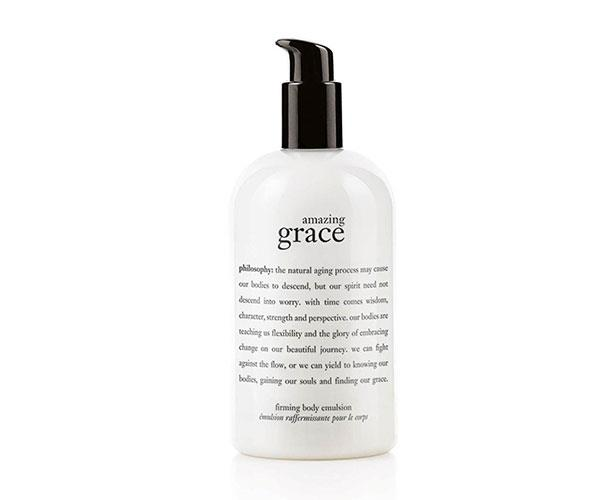 "It's moisturising, firming and just so happens to have a lovely delicate scent – so you can skip perfume. <br><br> Amazing Grace Body Firming Emulsion, $50, at [David Jones](http://shop.davidjones.com.au/djs/ProductDisplay?catalogId=10051&productId=149630&langId=-1&storeId=10051&cm_mmc=googlesem-_-PLA-_-Health+and+Beauty+-+Personal+Care-_-Philosophy+Amazing+Grace+Body+Firming+Emulsion+480ml&gclid=CjwKCAjwwbHWBRBWEiwAMIV7E5NEse1GcIn3T39hrnBqFTwUGR7gJFMlp5z6lNdUHVJUBhnjbtE5bRoCWvUQAvD_BwE&gclsrc=aw.ds|target=""_blank"")."