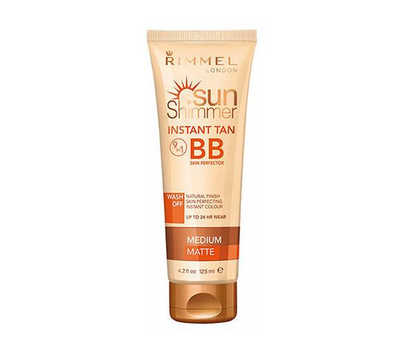 """No time for a spray? This wash-off colour comes in two different shades, so you can find the best match for bronzing up your neckline. <rb><br> Rimmel Sunshimmer Instant Tan + BB Skin Perfector, $4.80, at [Priceline](https://www.priceline.com.au/rimmel-sunshimmer-instant-tan-bb-skin-perfection-medium-matte-125-ml