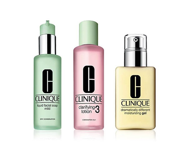 """**Liquid Facial Soap, $29 , Clarifying Lotion 3, $29, for 200ml Dramatically Different Moisturising Gel, $49, at [Clinique](https://www.clinique.com.au/products/12794/3-step/combination-oily-type-3