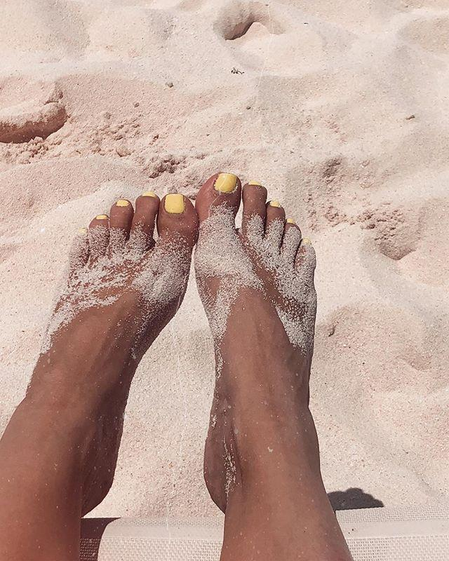 "To top up the suspected saltiness, Kim also shared a picture of her sandy feet, captioning the photograph with: ""Far Far Away."" Far, far away from the drama, Kim?"