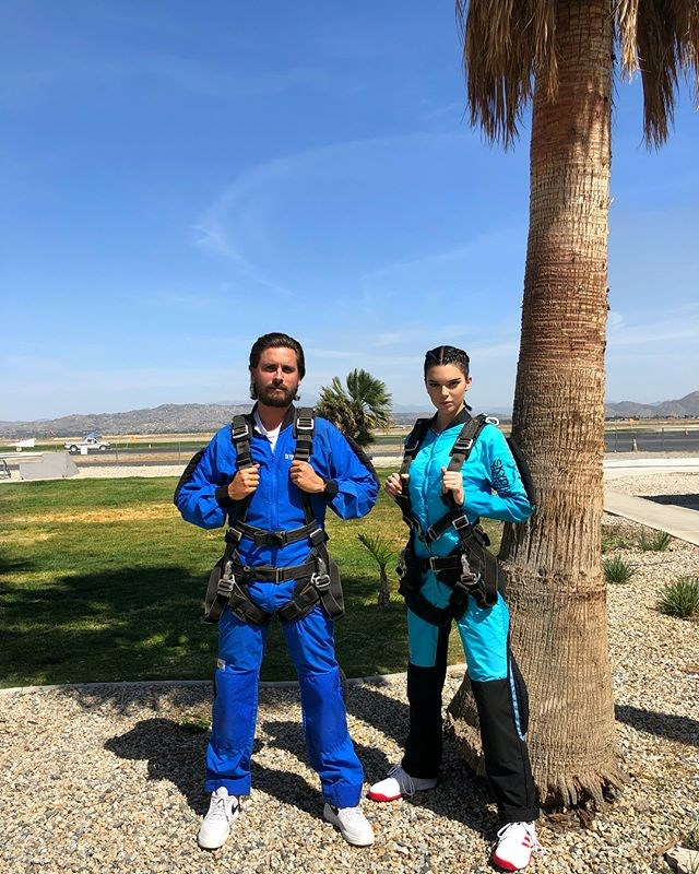 """Kendall hasn't posted anything referring to Khloé and Tristan's drama, but instead decided to jump out of a plane with Kourtney Kardashian's ex-boyfriend (who's been at the centre of [multiple cheating allegations](https://www.elle.com.au/celebrity/kim-and-kris-jenner-react-to-scott-disick-cheating-3963 target=""""_blank"""") himself)."""
