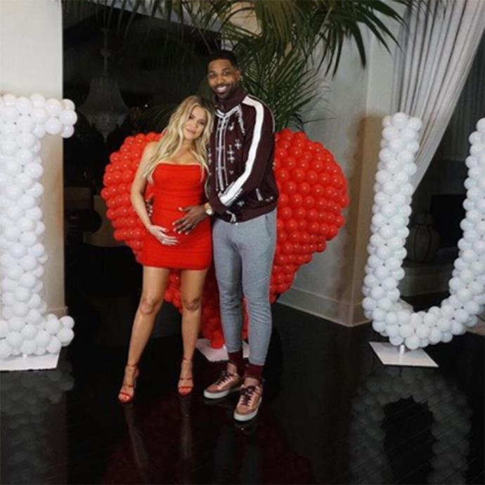 Khloé Kardashian and Tristan Thompson on Valentine's Day. (Sourced from Instagram.)