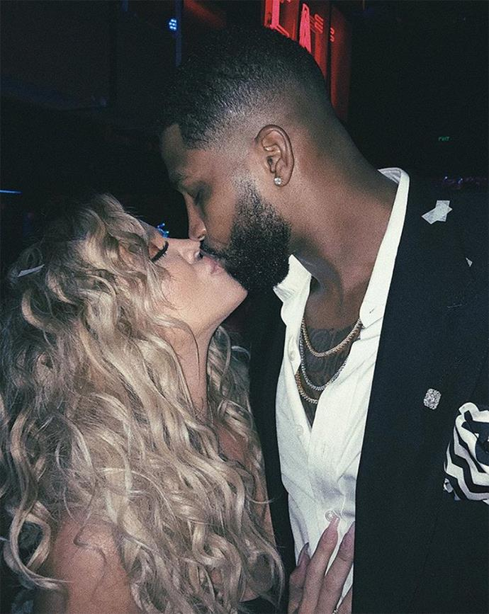 Khloé Kardashian and Tristan Thompson locking lips. (Sourced from Instagram.)