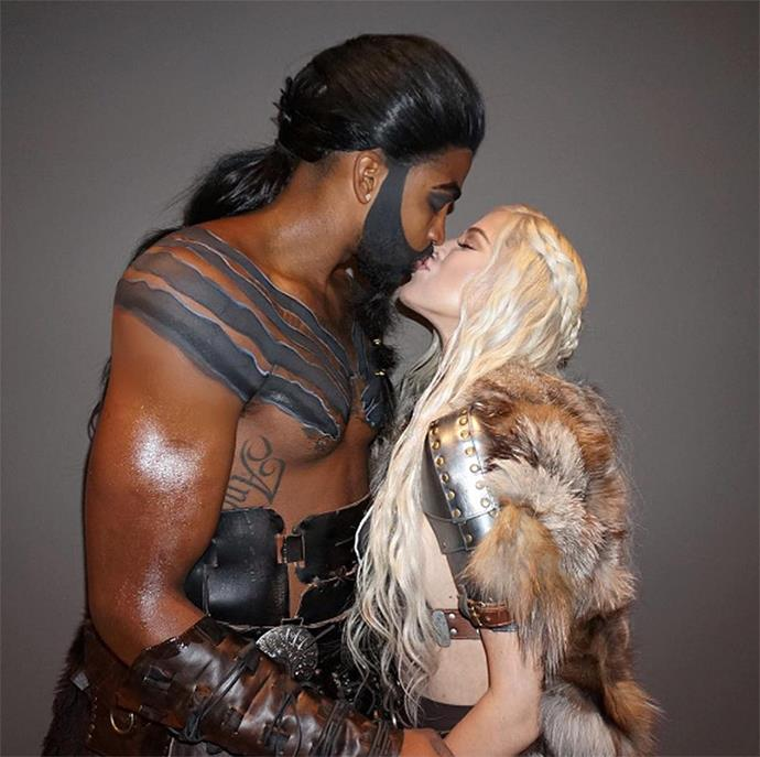 Khloé Kardashian and Tristan Thompson dressed as Daenerys and Khal Drogo from *Game of Thrones* for Halloween. (Sourced from Instagram.)
