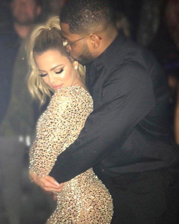 Khloé Kardashian and Tristan Thompson grinding. (Sourced from Instagram.)