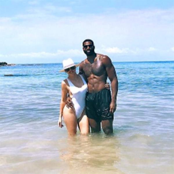 Khloé Kardashian and Tristan Thompson on holiday together. (Sourced from Instagram.)
