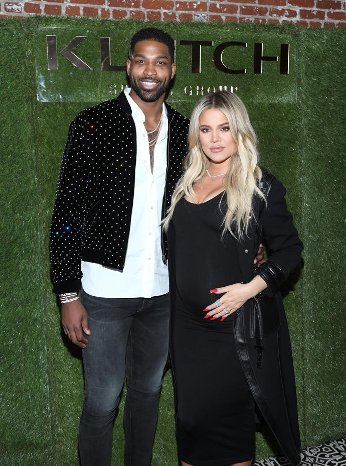 Khloé Kardashian and Tristan Thompson at Tristan's birthday party.