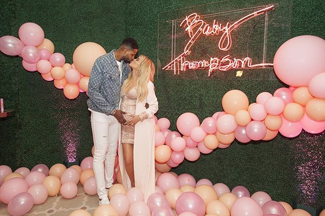 Khloé Kardashian and Tristan Thompson at Khloé's baby shower. (Sourced from Instagram.)
