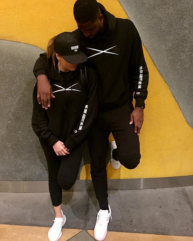 Khloé Kardashian and Tristan Thompson after a workout. (Sourced from Instagram.)