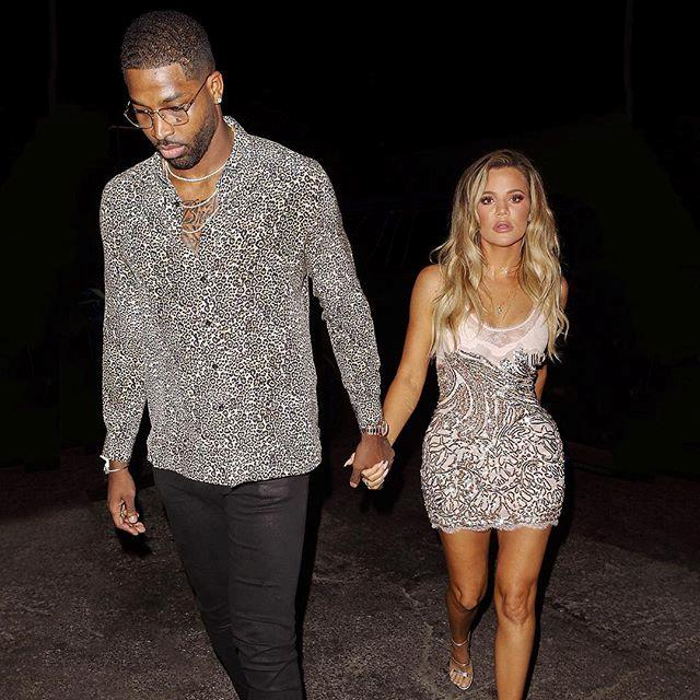 Khloé Kardashian and Tristan Thompson leaving Khloé's surprise birthday party. (Sourced from Instagram.)