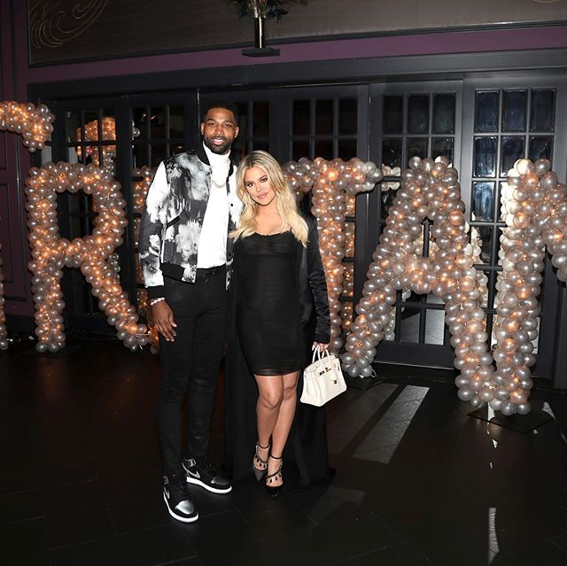 Khloé Kardashian and Tristan Thompson at Tristan's birthday party. (Sourced from Instagram.)