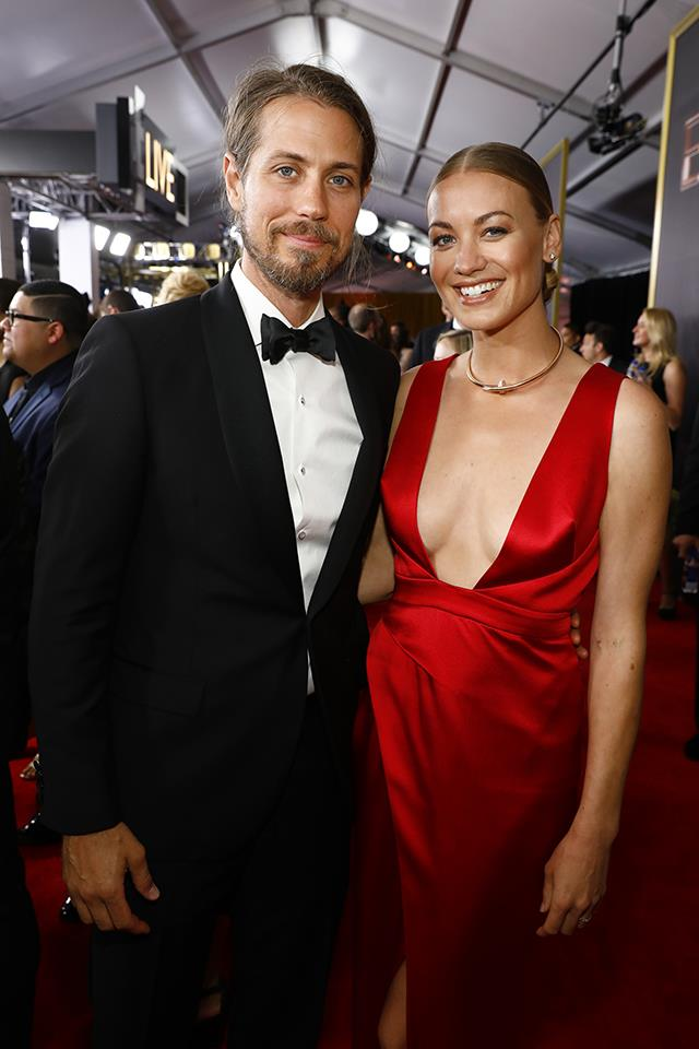 "**Yvonne Strahovski**, the Australian actress who plays Serena Joy (the wife of Offred's designated Commander), revealed at the 2017 Emmys that she had [married](http://people.com/tv/emmys-2017-yvonne-strahovski-married-tim-loden/|target=""_blank""