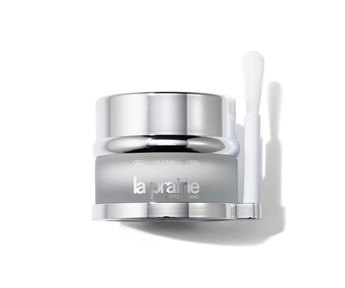 """**The in-office treatment: Acid peel** <br><br> A blend of professional strength acids exfoliate skin and stimulate collagen production for a glowy, youthful appearance (though a few days of flaking should be expected). <br><br> **The OTC product: La Prairie 3 Minute Cellular Peel** <br><br> This weekly treatment uses AHAs and BHAs, salicylic acid and mixed fruit acid to gently remove dead surface cells and encourage the production of healthy new cells to smooth fine lines and refine pores over time. The glow, however, is immediate.  <br><br> Try La Prairie 3 Minute Cellular Peel, $305, at [David Jones](http://shop.davidjones.com.au/djs/en/davidjones/cellular-3-min-peel