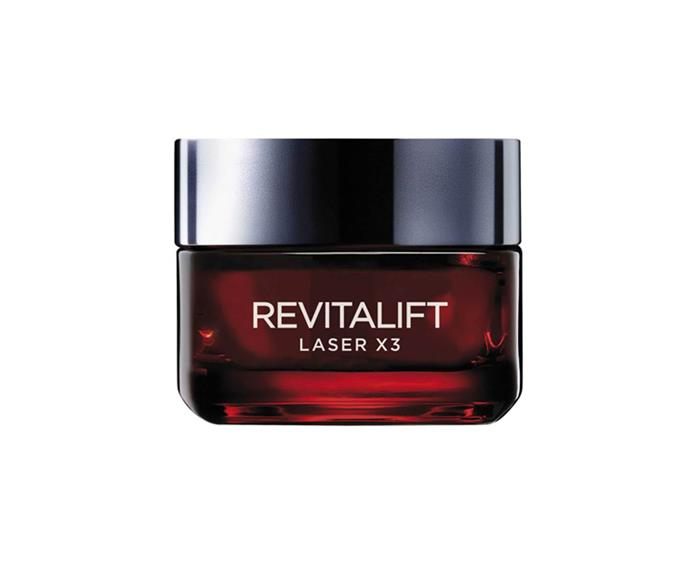 """**The in-office treatment: C02 fractionated laser** <br><br> A fractionated laser creates a controlled injury to skin, which in turn causes the skin to go into wound-healing repair mode, producing healthy new skin cells for a fresh, even-toned complexion. <br><br> **The OTC product: L'Oréal Paris Revitalift Laser X3 moisturiser** <br><br> This skincare uses a proprietary Pro-Xylane to stimulate collagen production in the skin and promote regeneration, smoothing wrinkles. It also contains plumping Hyaluronic Acid and exfoliating lipo hydroxy acid for even tone. L'Oréal claims four weeks of the moisturiser rivals the results of a laser. <br><br> Try L'Oréal Paris Revitalift Laser X3 moisturiser, $45, at [Priceline](https://www.priceline.com.au/l-oreal-paris-revitalift-laser-x3-anti-ageing-power-moisturiser-50-ml