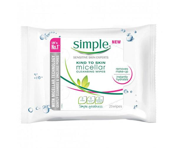 "**Pre-cleanse** <br><br> Micellar cleansing water has become a beauty must-have and now it's in towelette form. These wipes remove impurities and makeup, leaving the skin feeling clean and hydrated without irritation.  <br><br> Simple Kind To Skin Micellar Facial Wipes, $8, at [Priceline](https://www.priceline.com.au/simple-kind-to-skin-facial-wipes-micellar-25-wipes|target=""_blank"")."