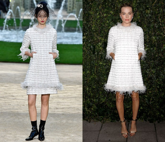 Wearing Chanel Couture spring/summer '18 at the Chanel & Charles Finch Pre-Bafta Dinner on February 17, 2018.