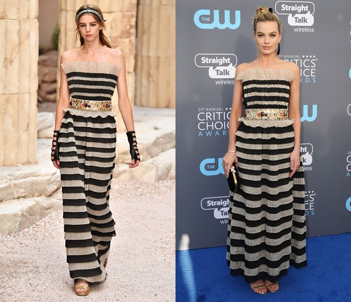 Wearing Chanel Cruise 2018 at the Critics' Choice Awards on January 11, 2018.