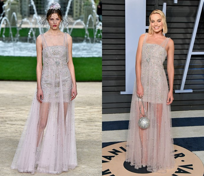 Wearing Chanel Couture spring/summer '18 at the Oscars After Party on March 4, 2018.
