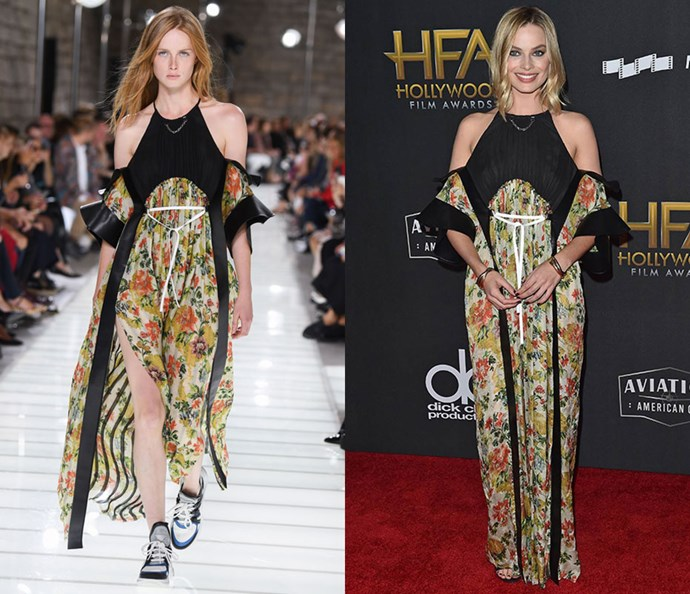 Wearing Louis Vuitton spring/summer '18 at the Hollywood Film Awards on November 7, 2017.