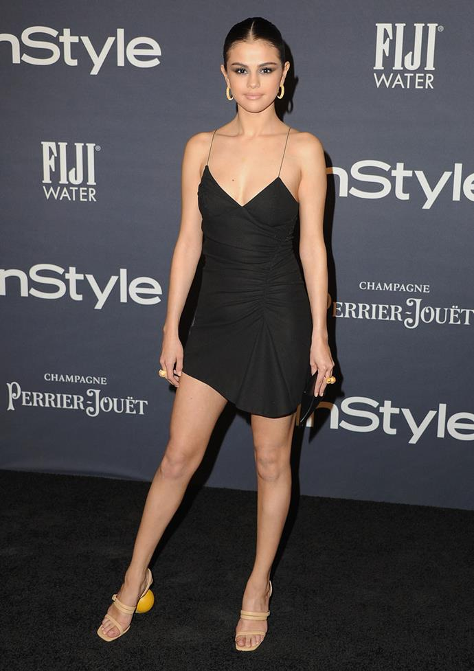 This isn't the first time Selena's donned shoes by the quintessential French brand, wearing an asymmetrical nude pair at the 2017 *Instyle* Awards.