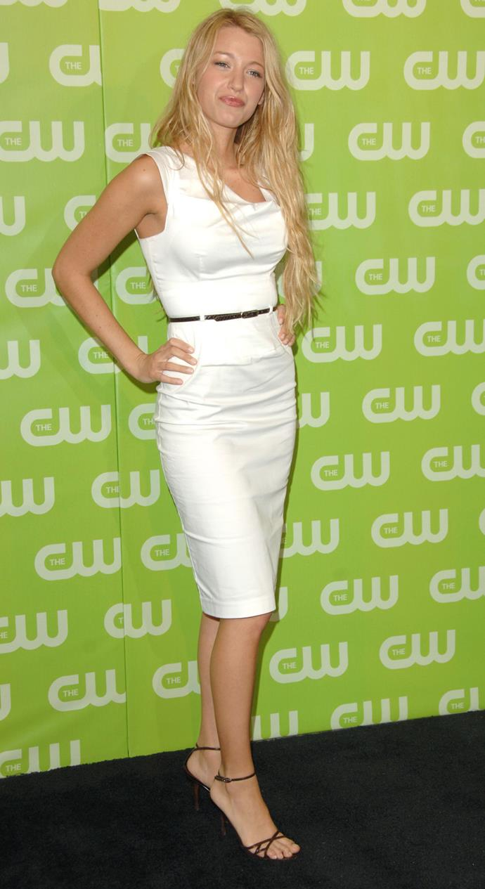Blake Lively in the Black Halo Jackie O Dress at a CW Event in 2006.