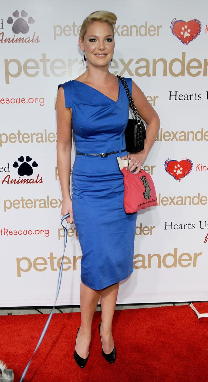 Katherine Heigl in the Black Halo Jackie O Dress at a Peter Alexander Store Opening in 2008.